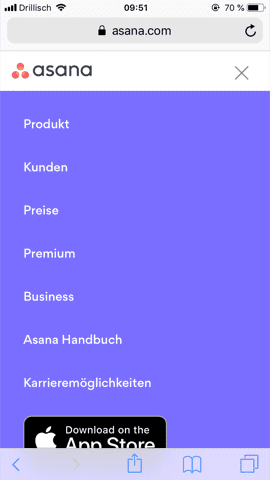 Hamburger Menu offen
